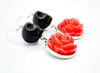 Black Skull and Red Roses Earrings