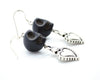 Black Skull and Hearts Earrings
