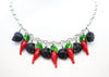 Black Skulls and Chillies Necklace