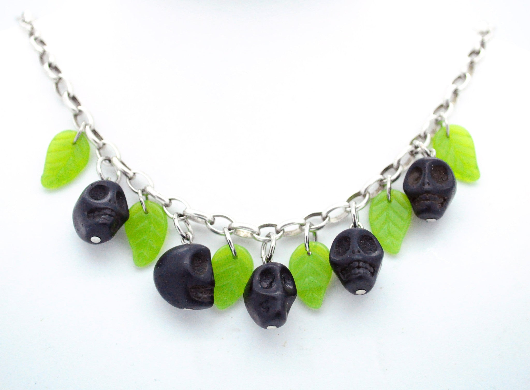 Black Skull and Leaves Necklace