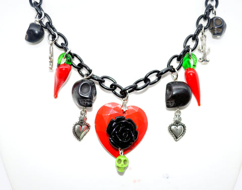 Heart and Roses Necklace with Skulls