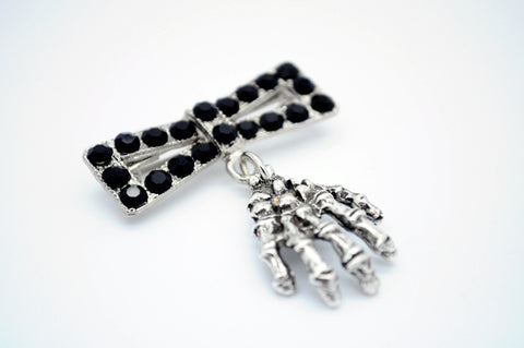 Diamante Zombie Hand and Bow Brooch