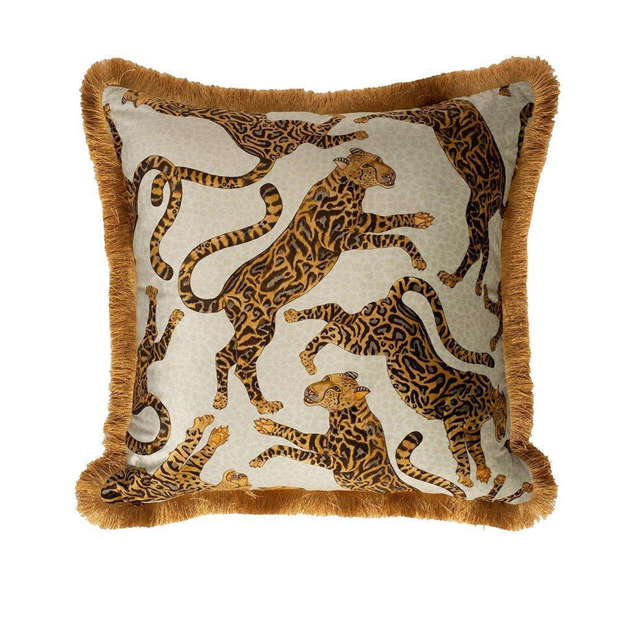 Cheetah Kings Pillow - Velvet With Fringe