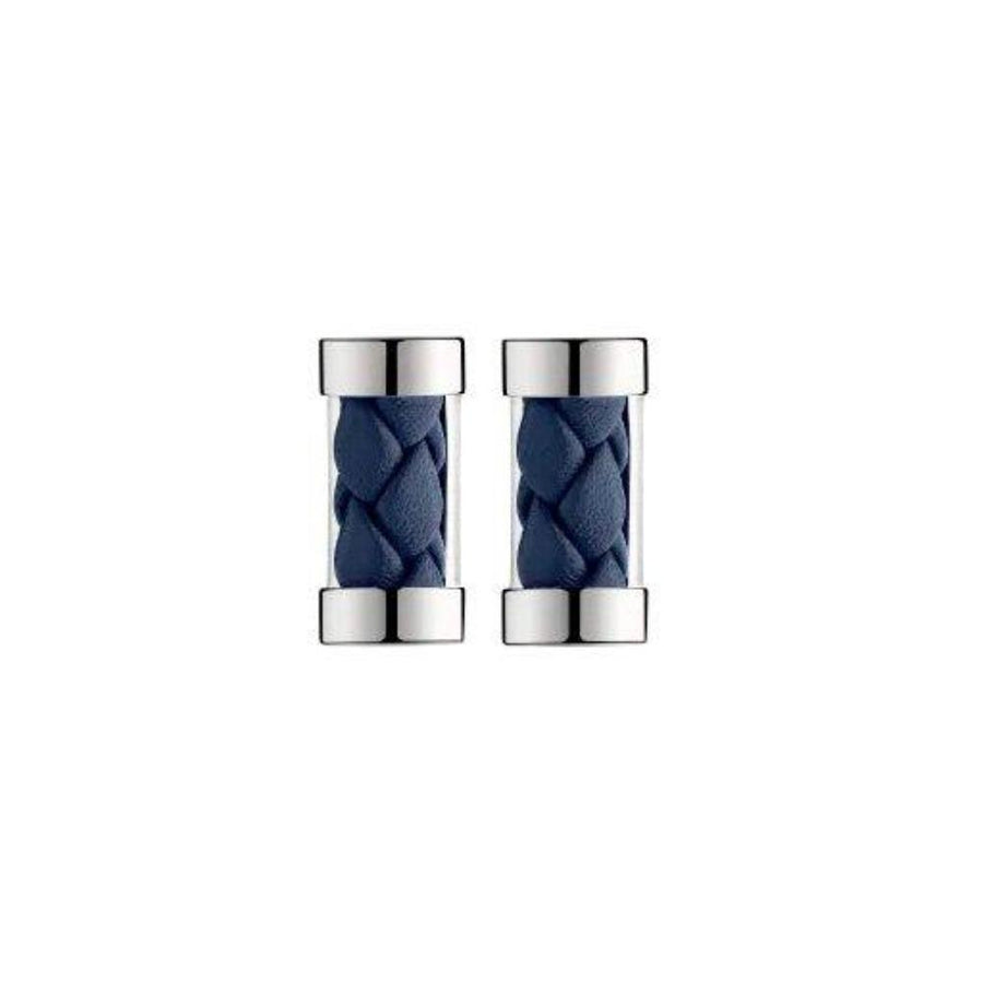 Duo Complice, Silver Plated & Blue Leather Bar Cufflinks