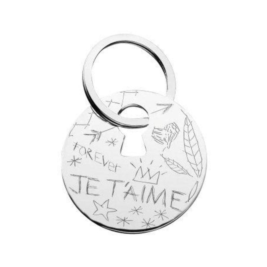 Graffiti HER Key Chain, Silver Plated