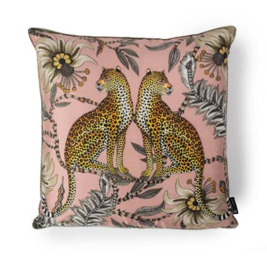 Lovebird Leopards Pillow- Silk- Magnolia