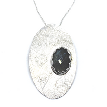 Load image into Gallery viewer, BOTANICAL ETCHED LABRADORITE PENDANT