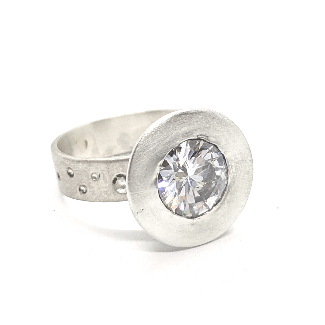 WHITE SAPPHIRE IN HALF DOME SETTING - RING