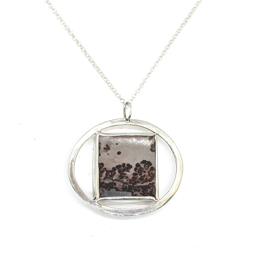 CHERRY BLOSSOM CIRCLE & SQUARE NECKLACE – APACHE RHYOLITE