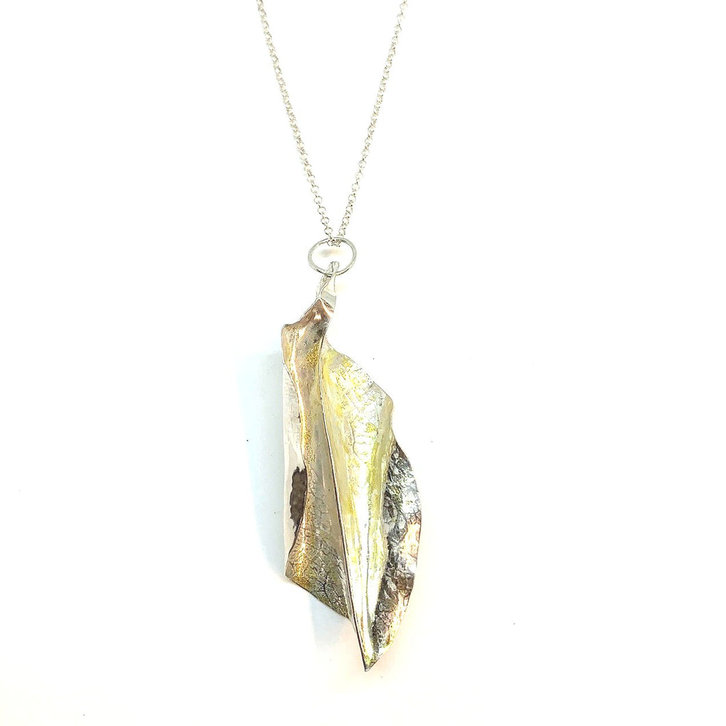 STERLING SILVER & 22K GOLD FORM FOLDED - NECKLACE