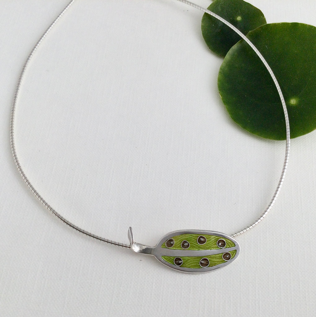 Silver and Enamel 'Leaf' Choker (HSL227)