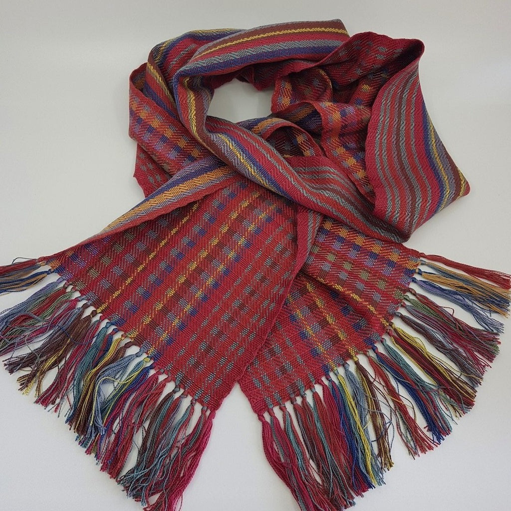 Handwoven silk scarf, red/multi (SB02)