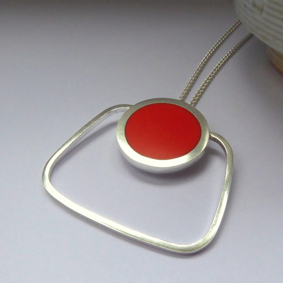 Orange Pop Square Pendant (ST013)