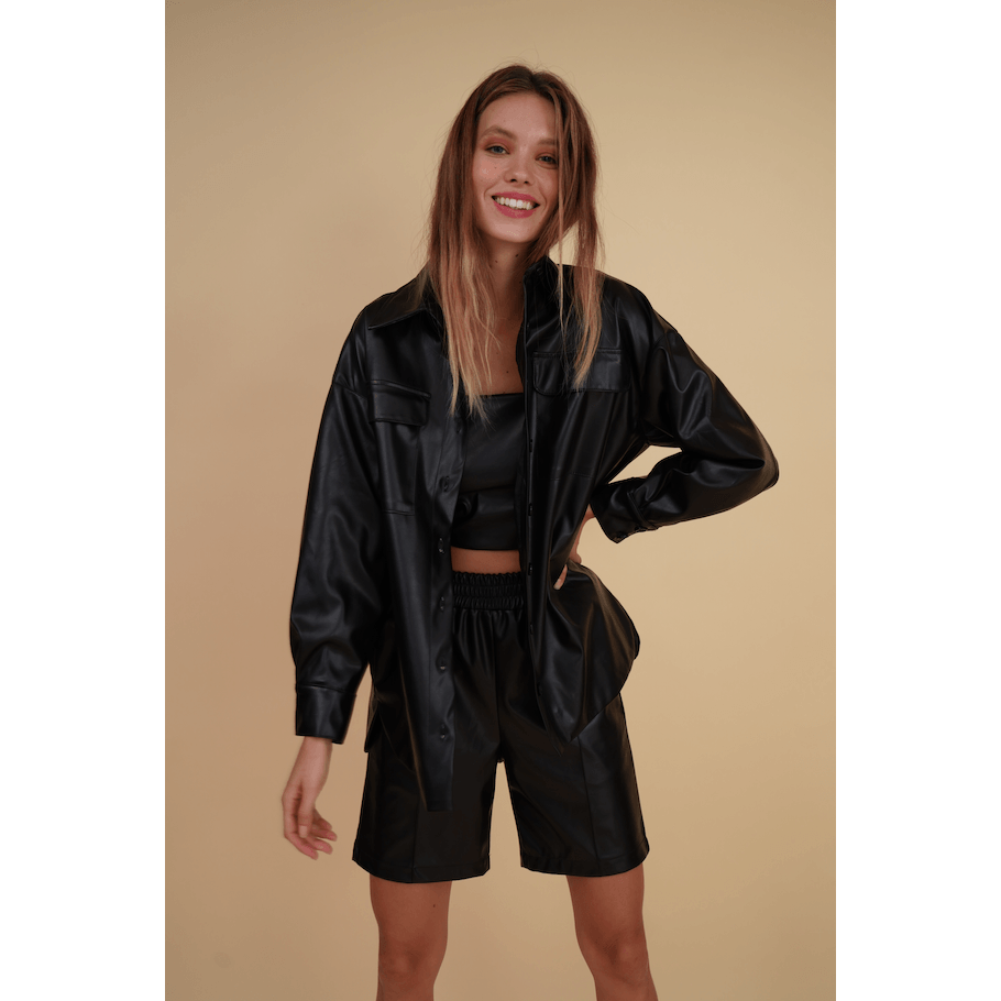 Aroma Couture Blazers Faux leather oversized shacket.