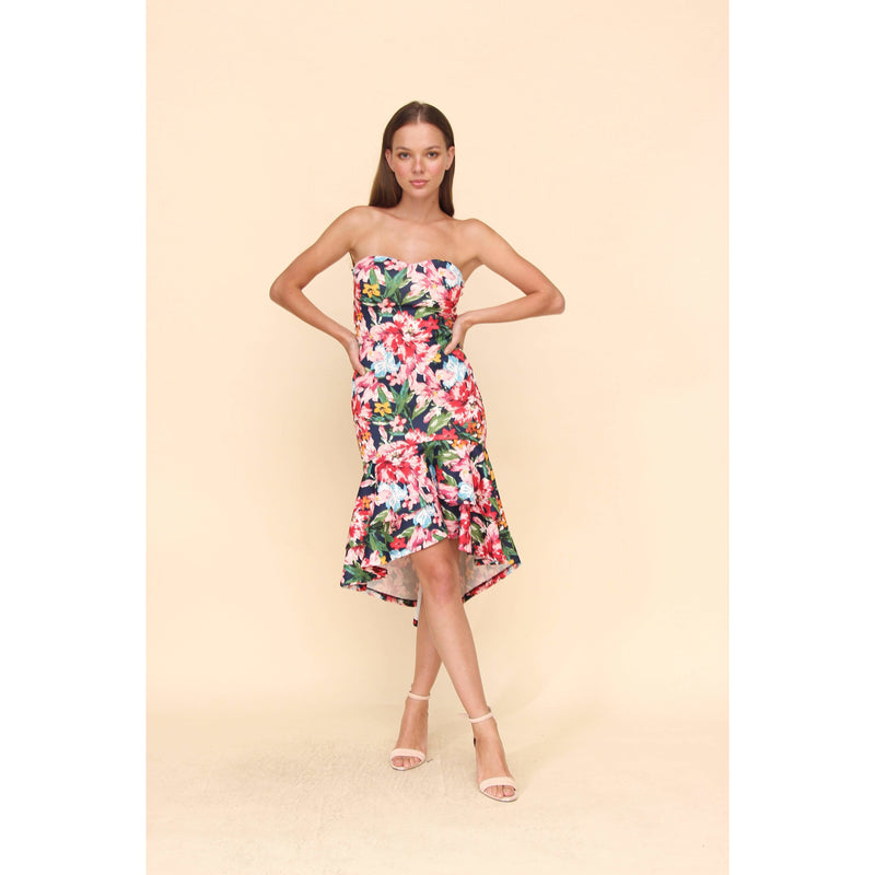 Aroma Couture Dress Off shoulder, midi flower print dress.