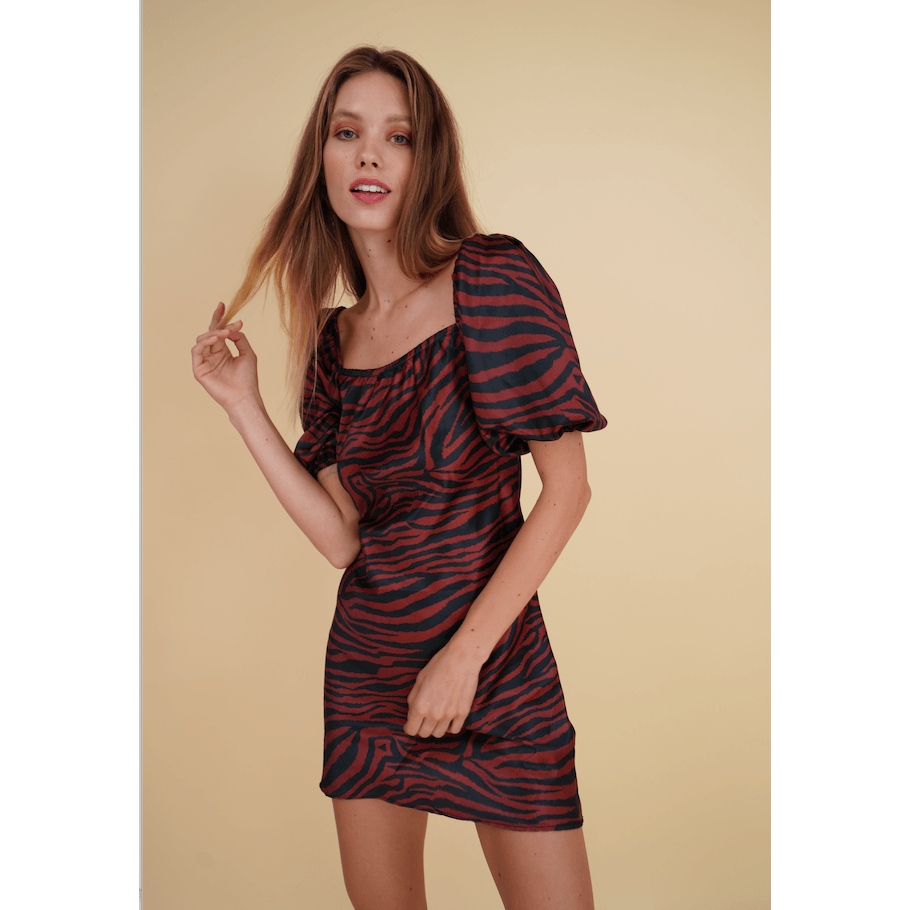 Aroma Couture Dress Puffed sleeve tiger print mini dress