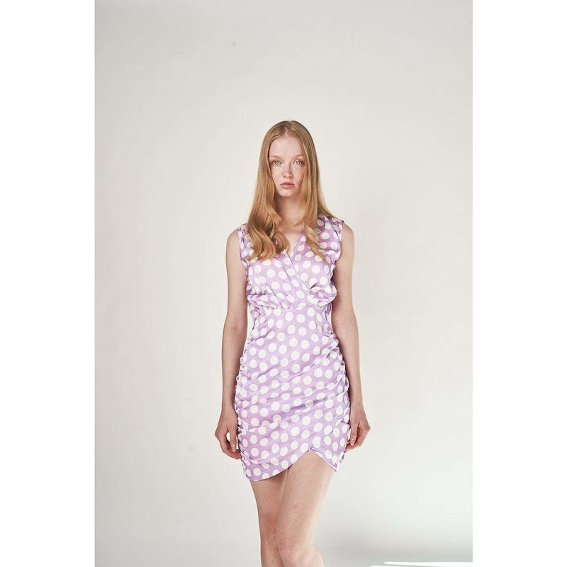 Aroma Couture Dress Satin ruched polka dot, mini dress.