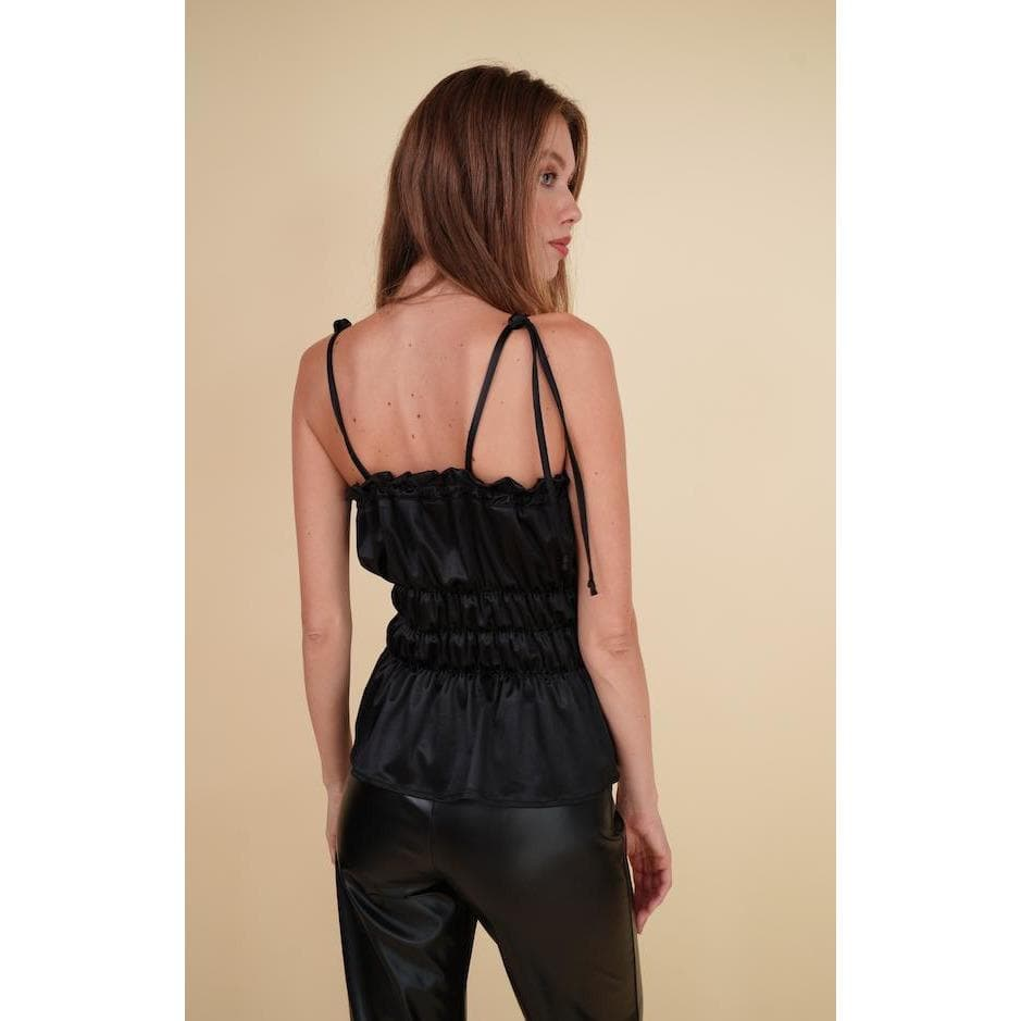 Aroma Couture Satin strappy, waisted top.