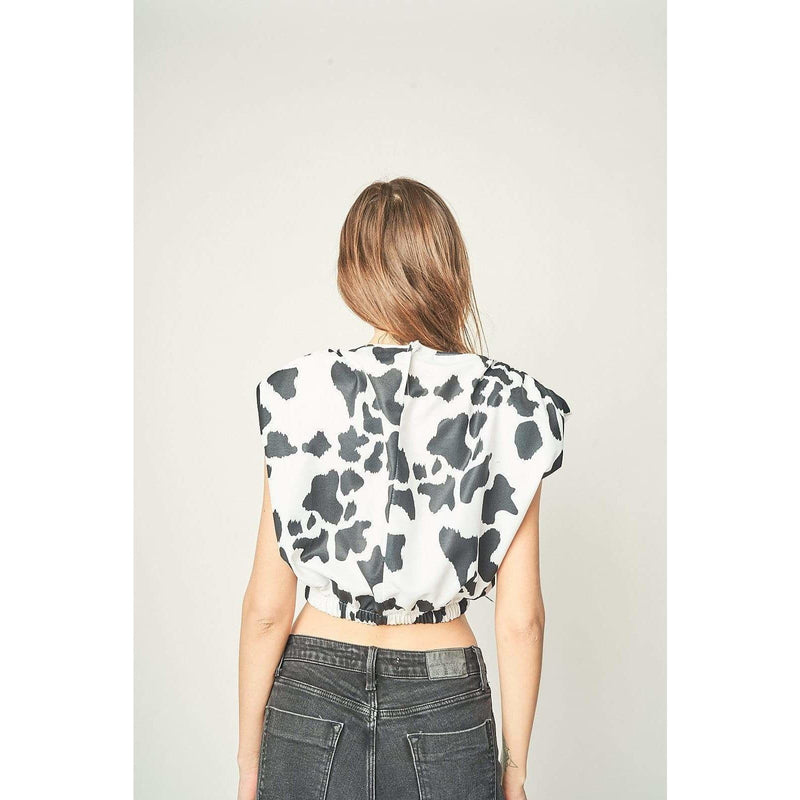 Aroma Couture tops Padded cow print top.