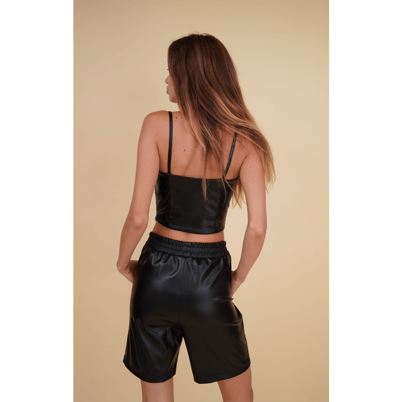 Aroma Couture tops Strappy faux leather crop top.