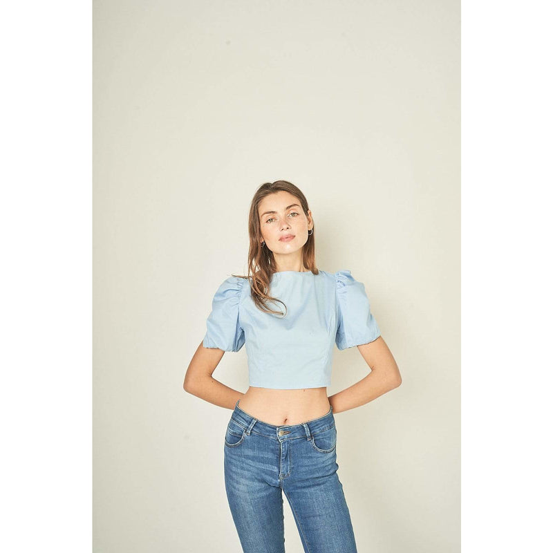H Apparel by Hispania tops Puffed sleeve, backless crop top.