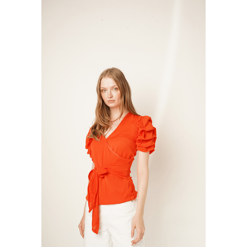 H Apparel by Hispania tops Puffed sleeve, crossed blouse.