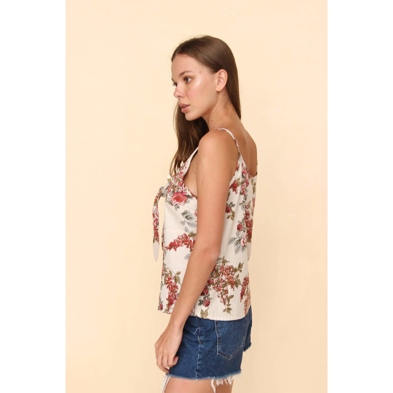 H Apparel by Hispania tops Strappy linen, flower print blouse.