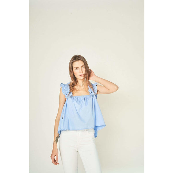 H Apparel by Hispania tops Strappy ruched popelin blouse