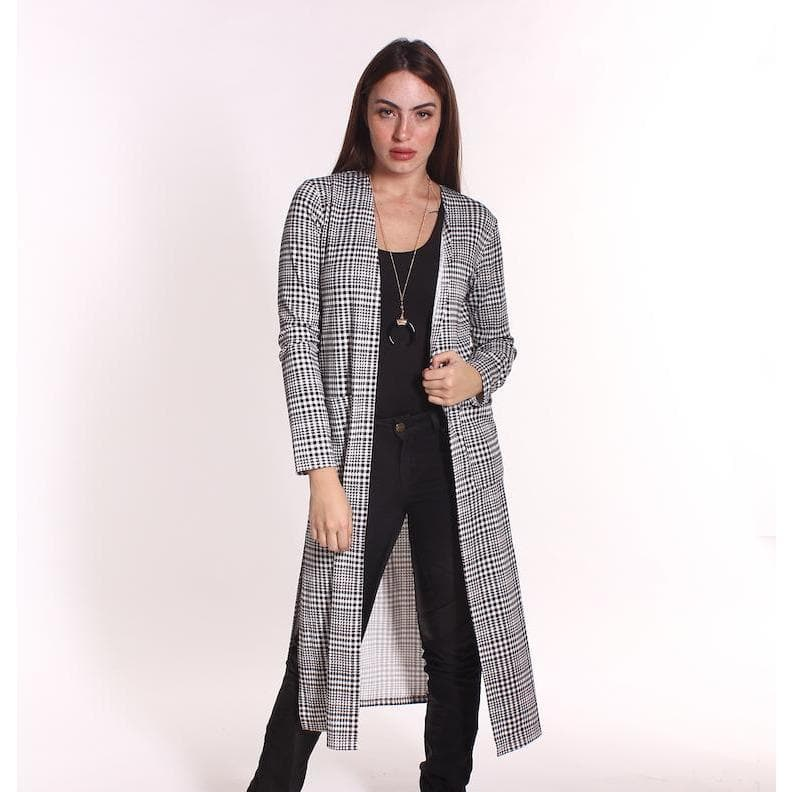 H Apparel Checkers, long sleeve cardigan