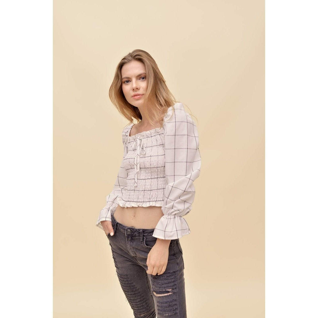 H Apparel Checkers, smocked top