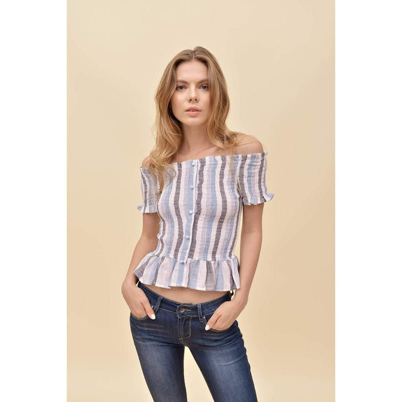H Apparel G / Light Blue Stripes shoulder cut out smock top