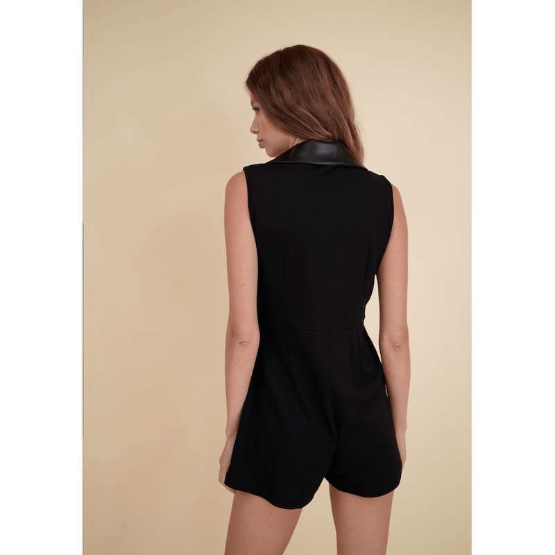 H Apparel Romper Contrast, faux leather blazer playsuit.