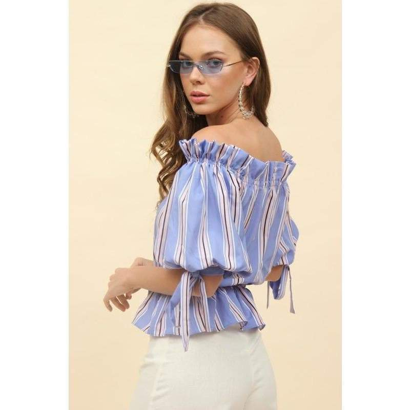 H Apparel Stripes off shoulder top
