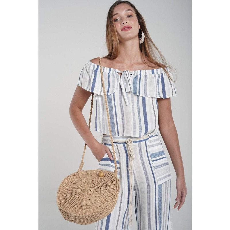 H Apparel Stripes off shoulder, top