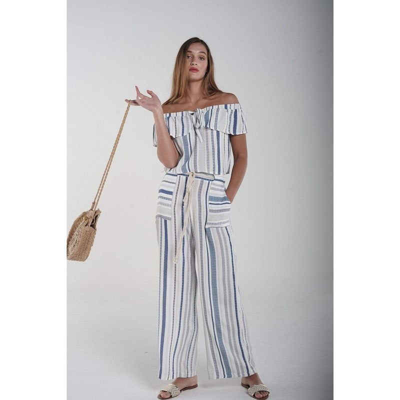Stripes pant, with belt H Apparel