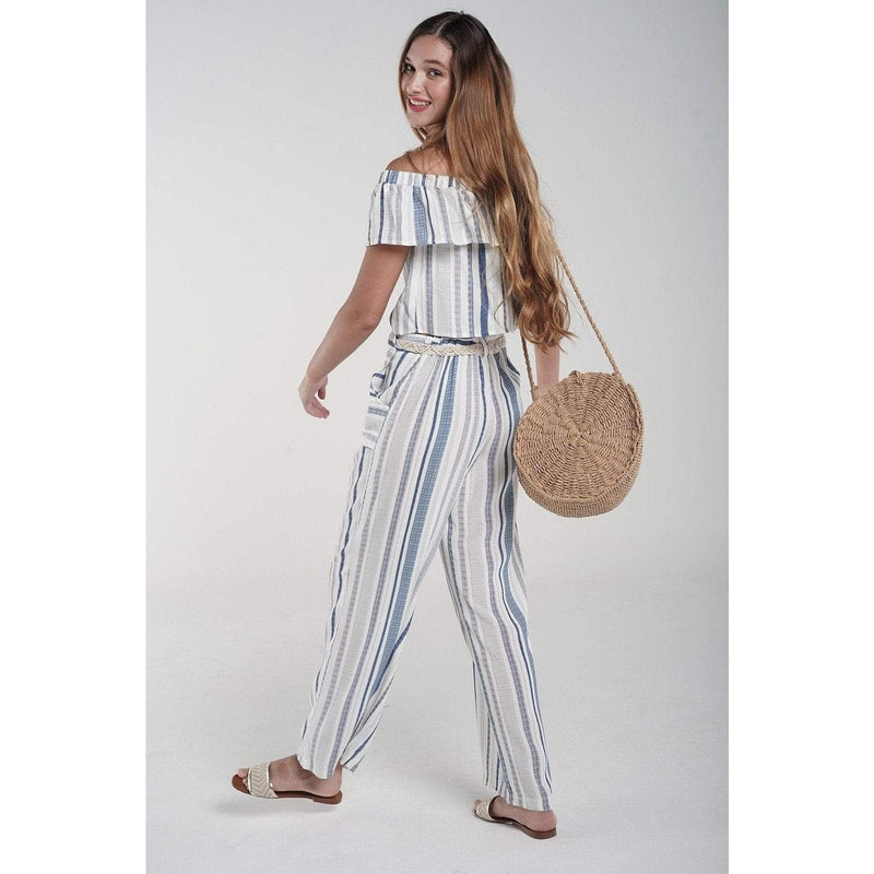 H Apparel Stripes pant, with belt