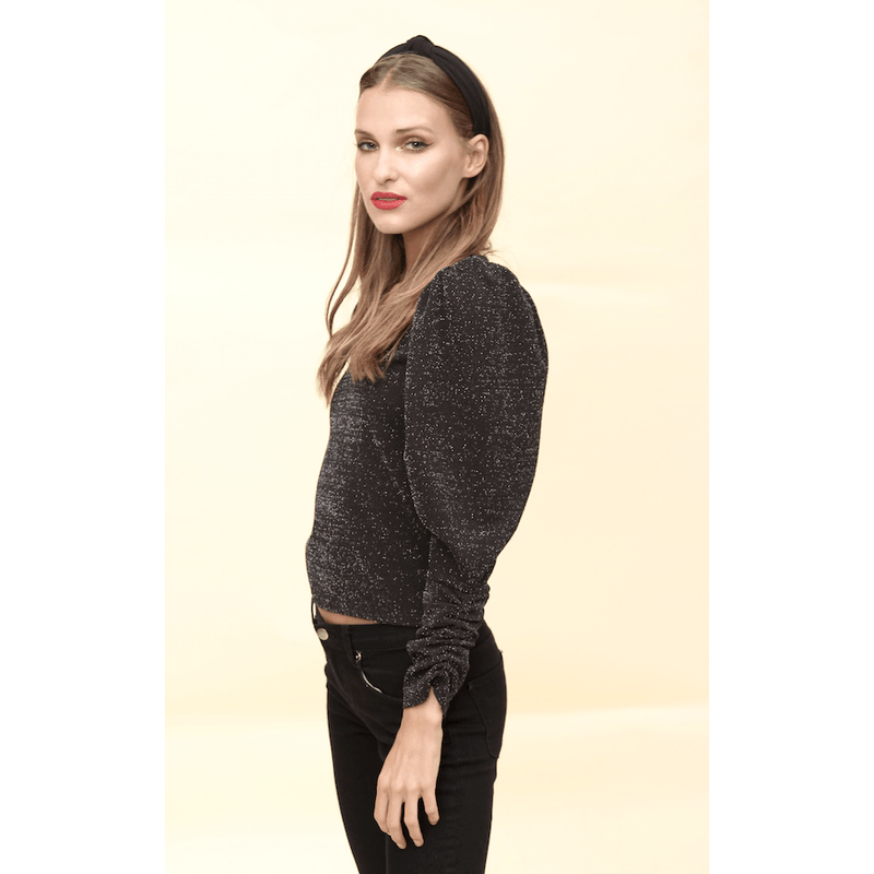 H Apparel Sueters V neck sweater with puffed sleeve