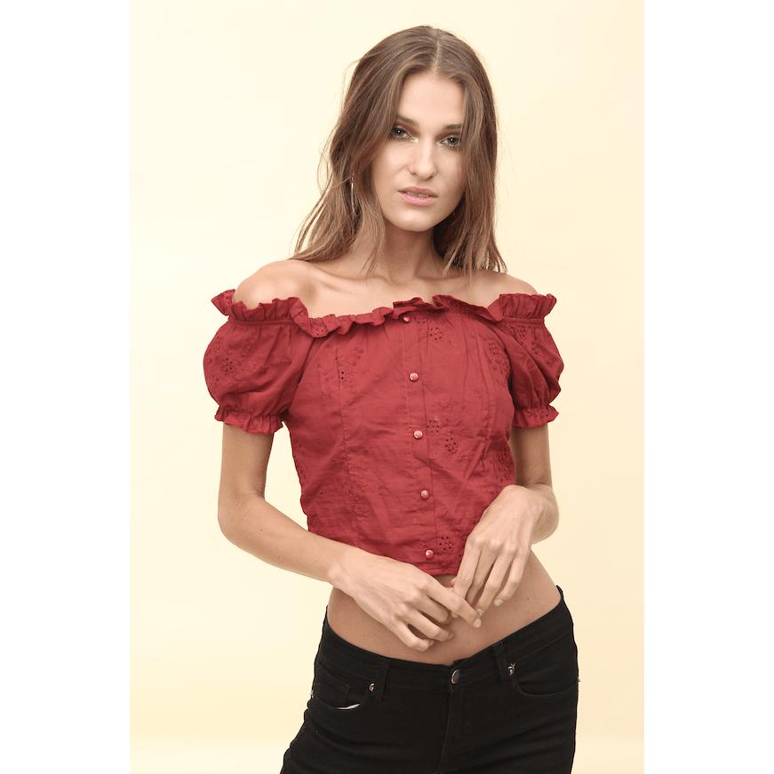 H Apparel tops Off shoulder boile crop top.