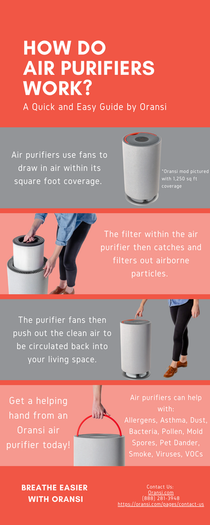 Infographic describing basic functionality of air purifiers