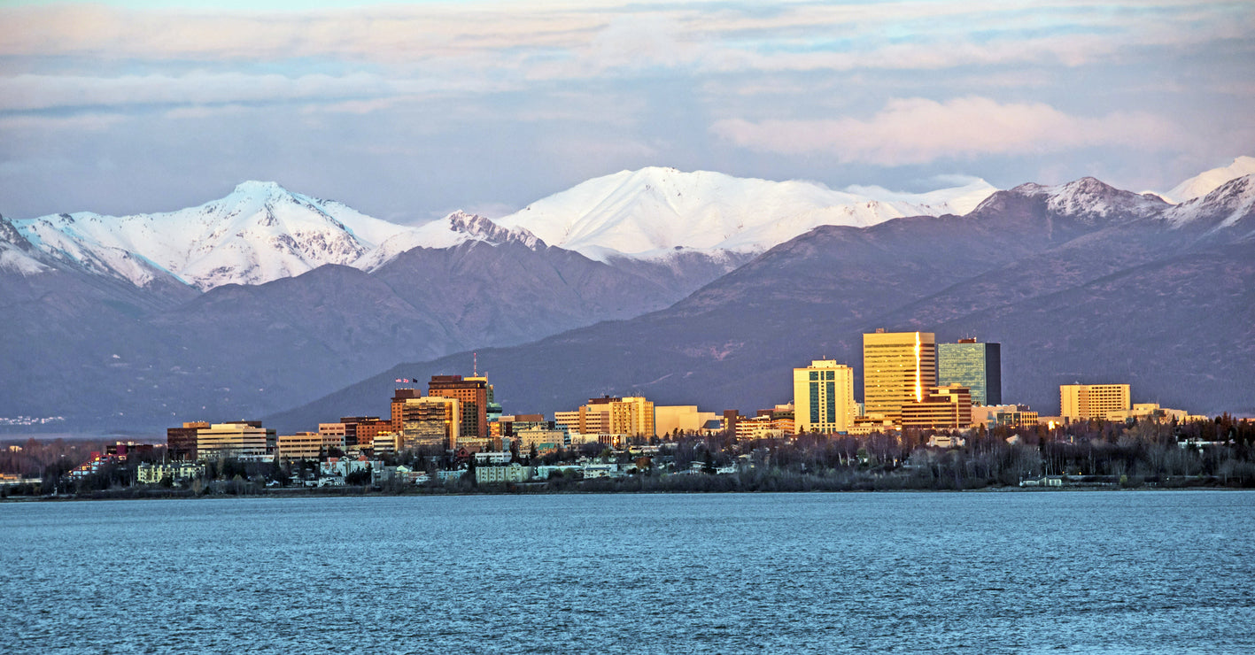 Anchorage alaska skyline with clean air
