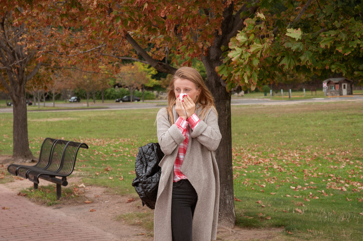 woman with fall allergies