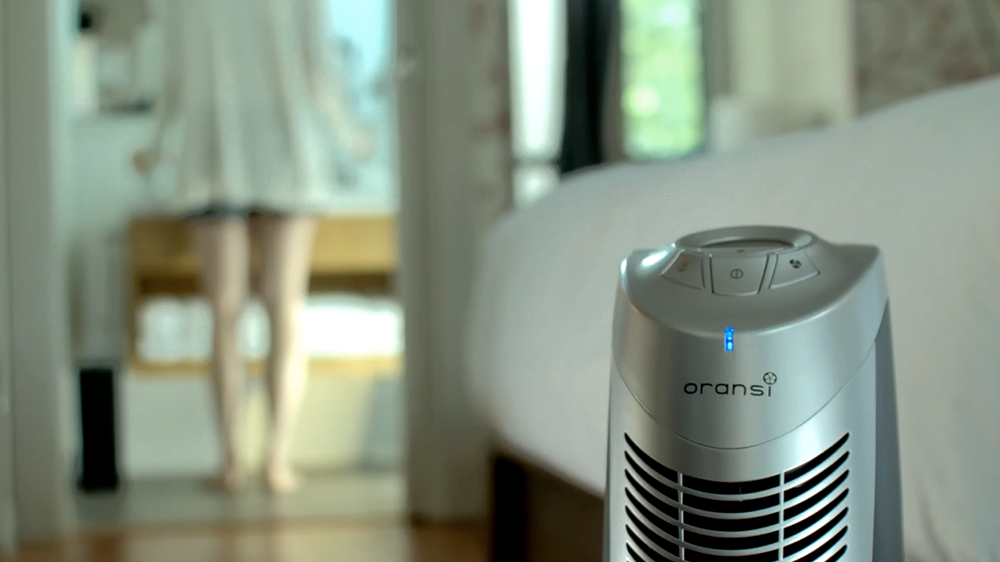 Oransi air purifier in a bedroom