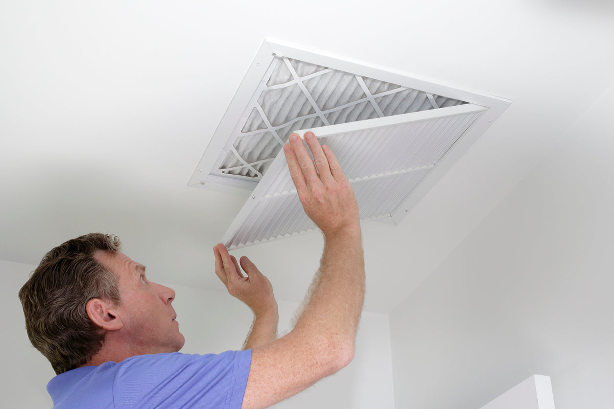 replacing the air filter in a home air conditioner system
