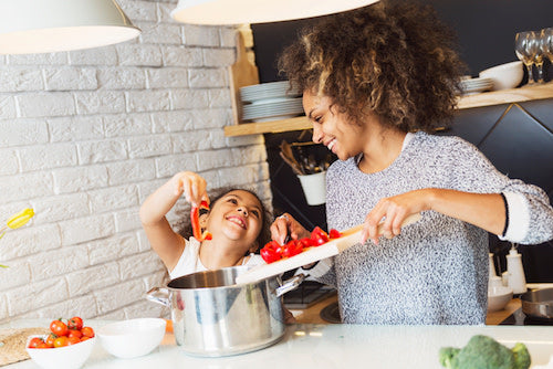 mom and child healthy cooking