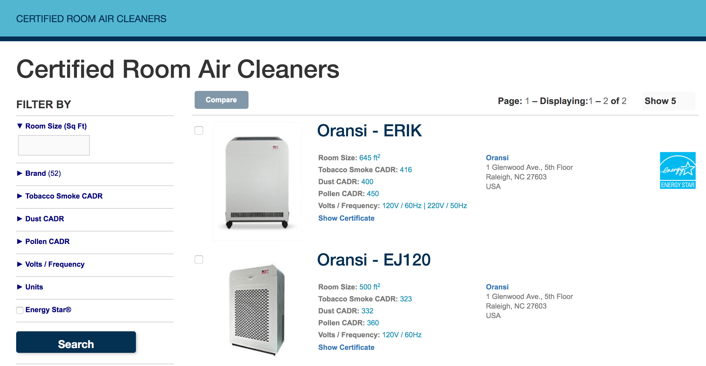 Certified CADR ratings for air cleaners