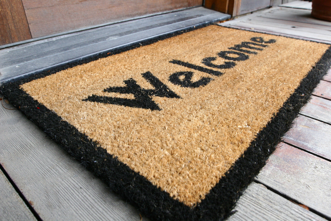 welcome mat at entryway to reduce dirt in house