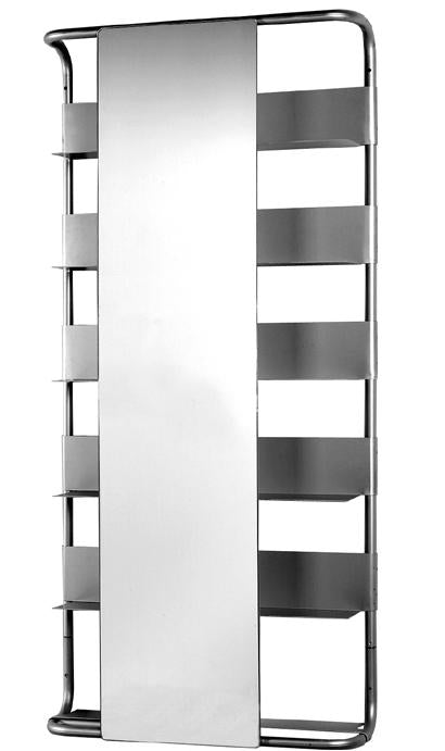 Aeri Large Aluminum Rectangular Wall Mount Frame with Six Shelves and Rectangular Sliding Mirror