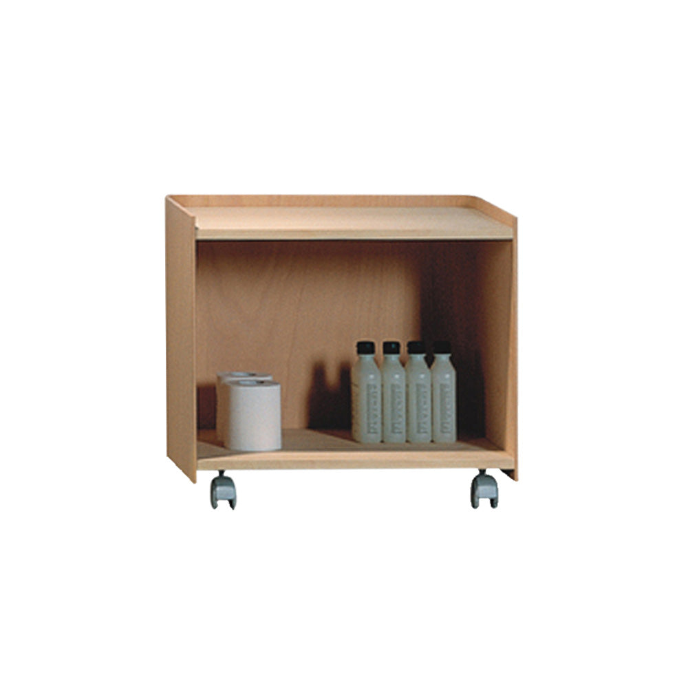 AECB38N - Aeri Wood Cart with Two Shelves and Casters