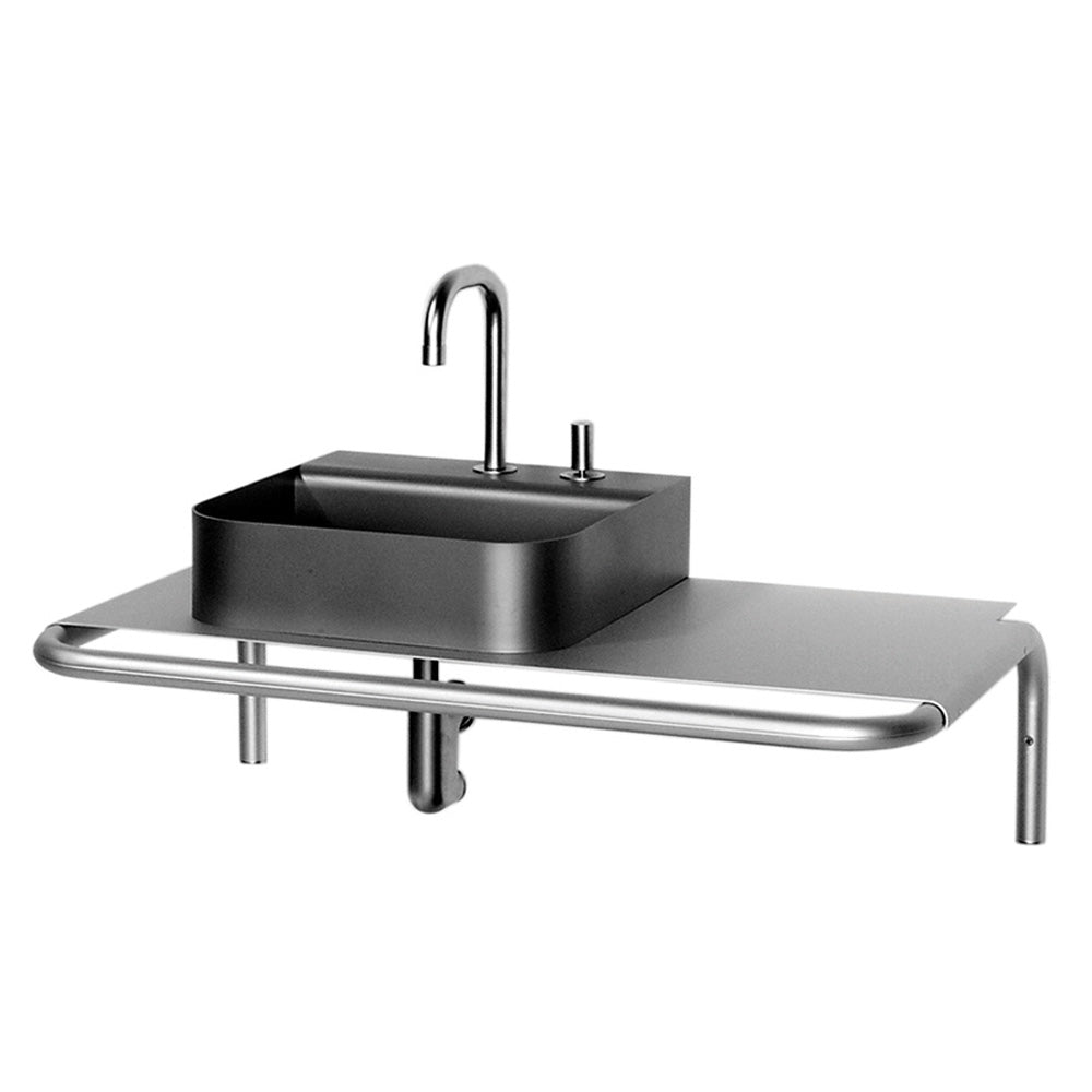 AELA185 - Aeri Single Shelf Wall Mount Aluminum Structure with Intergral Towel Bar