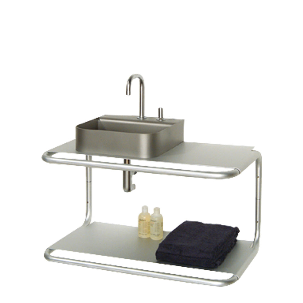 AELA285 - Aeri Double Shelf Wall Mount Aluminum Structure with Integral Towel Bar